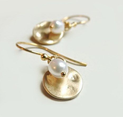 Hammered Gold Drop Earrings with White Freshwater by Flow Designs Simple Modern Bridal Fashion