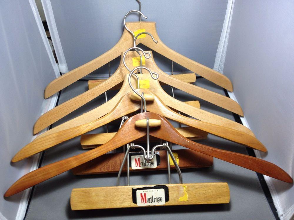 Vintage 5 Suit Wooden Hangers Clamp, Suit Hanger With Trouser Clamp