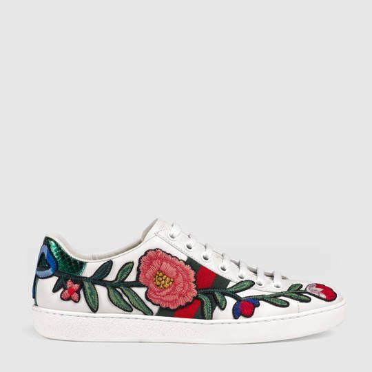 Gucci Zapatilla Deportiva De Cana Baja Ace Bordada Sneakers Mode Weisse Lederschuhe Und Turnschuhe Damen