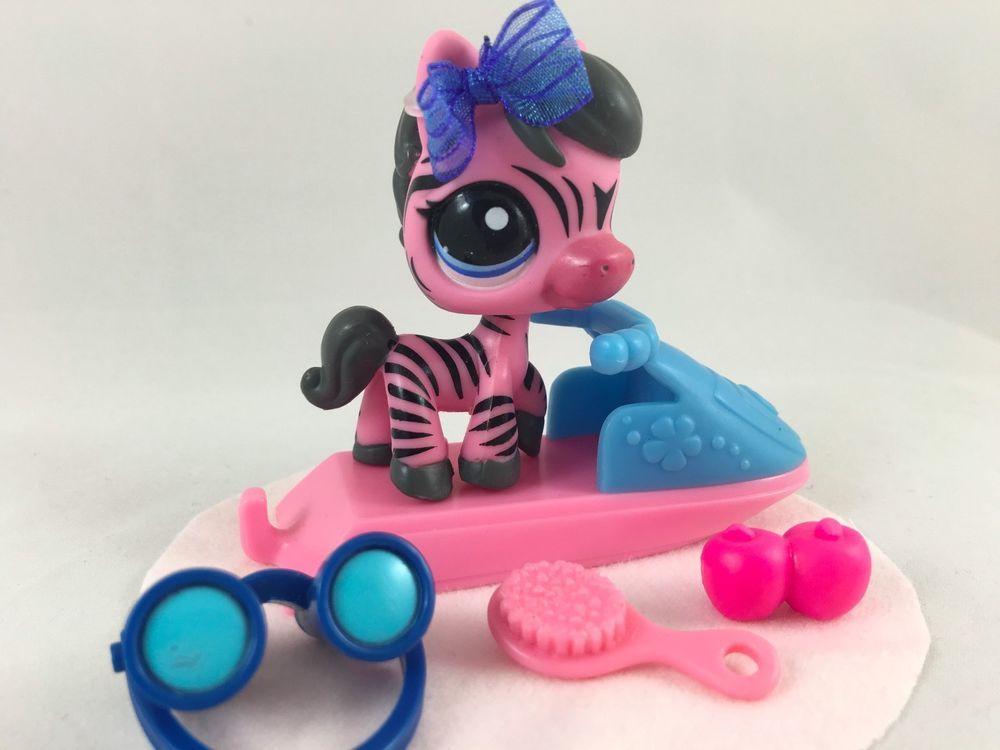 Littlest Pet Shop RARE Pink & Black Zebra #2078 w/Blue Eyes &…