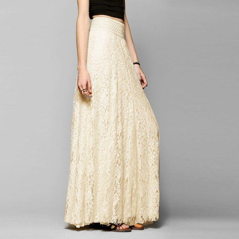 3e23df3bc69ae Bohemian Maxi Skirt Cotton Lace Women Size S-XL Elastic Waist Cream ...