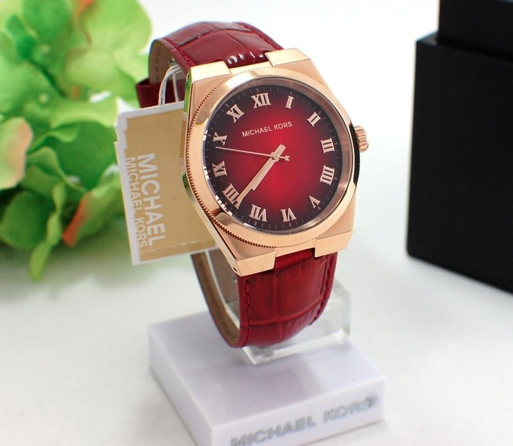4773102eed65  250 New MICHAEL KORS Channing Rose Gold   Red Croc Leather Band Watch  MK2357  MichaelKors  Fashion