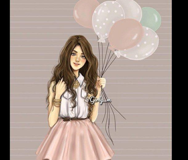 balloons brown hair cute drawing
