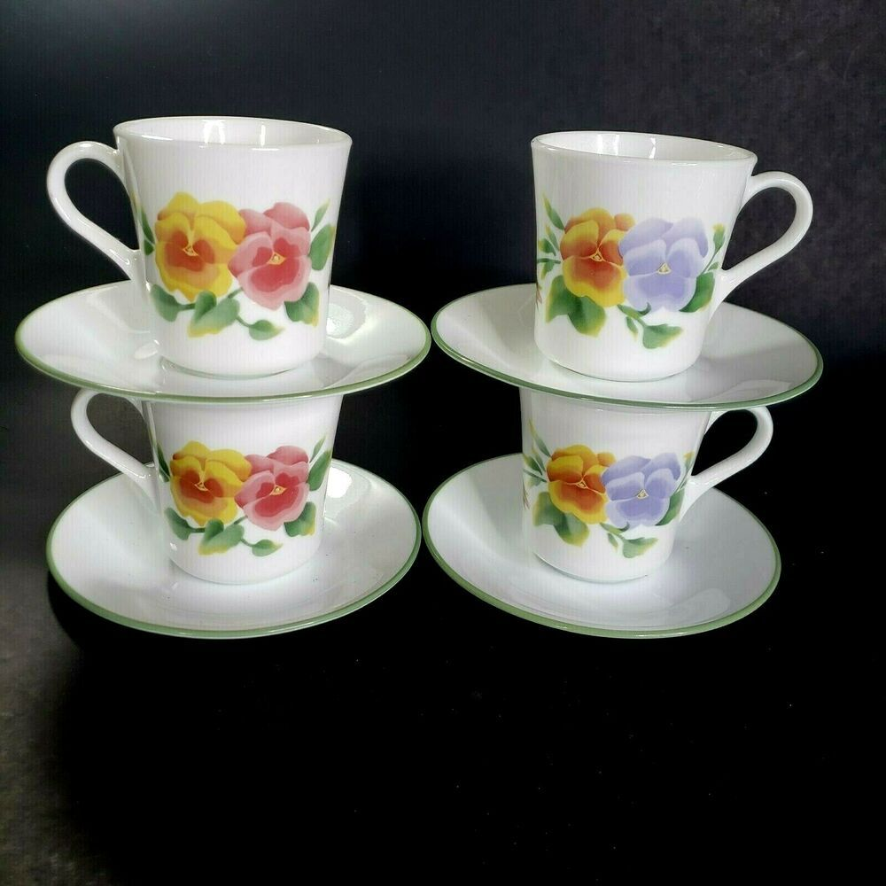 corelle summer blush cups and saucers 8 sets 16 pieces pansies rh pinterest com