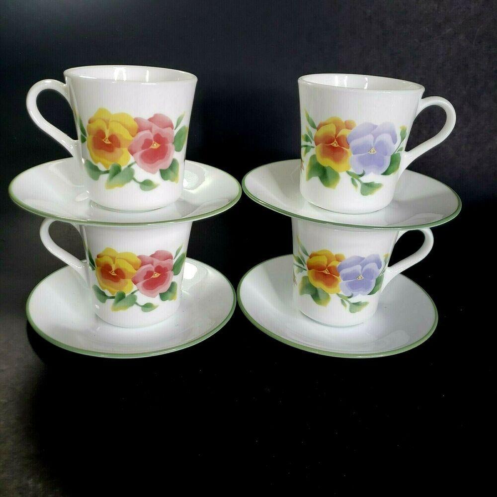 corelle summer blush cups and saucers 8 sets 16 pieces pansies rh pinterest com