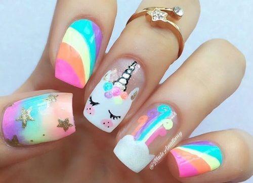 Resultado de imagen para decoracion de uñas con unicornios | Diseños de uñas de unicornio, Uñas unicornio, Uñas de gel bonitas