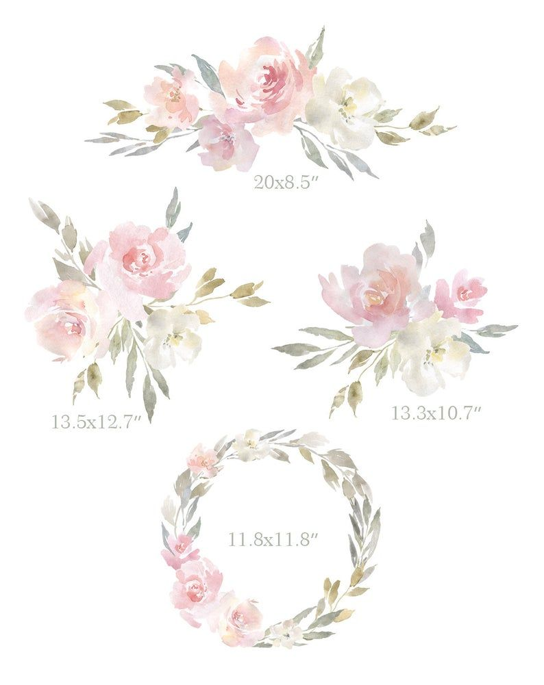 Watercolor Pink Floral Clipart Blush Aquarelle Digital Etsy In 2021 Pink Watercolor Flower Pink Watercolor Watercolor Flower Invitation