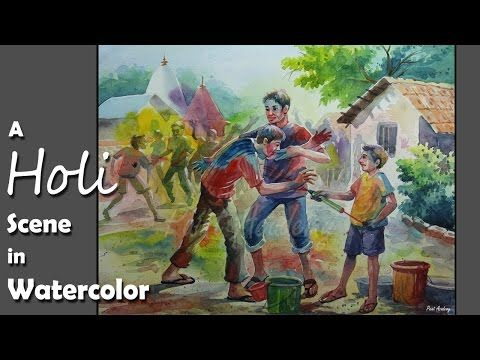 Watercolor Painting A Composition On Holi Festival Of Colors