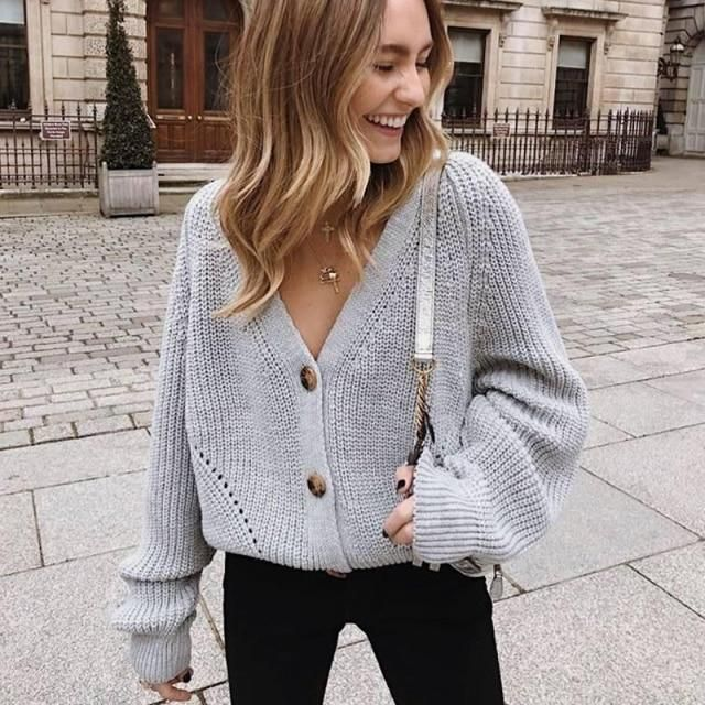 Photo of Sexy V-neck Knitted Women Cardigan – Casual Buttons Sleeve Sweater Cardigan – Elegant Tops (TP4)(TB8C) – One Size / Gray
