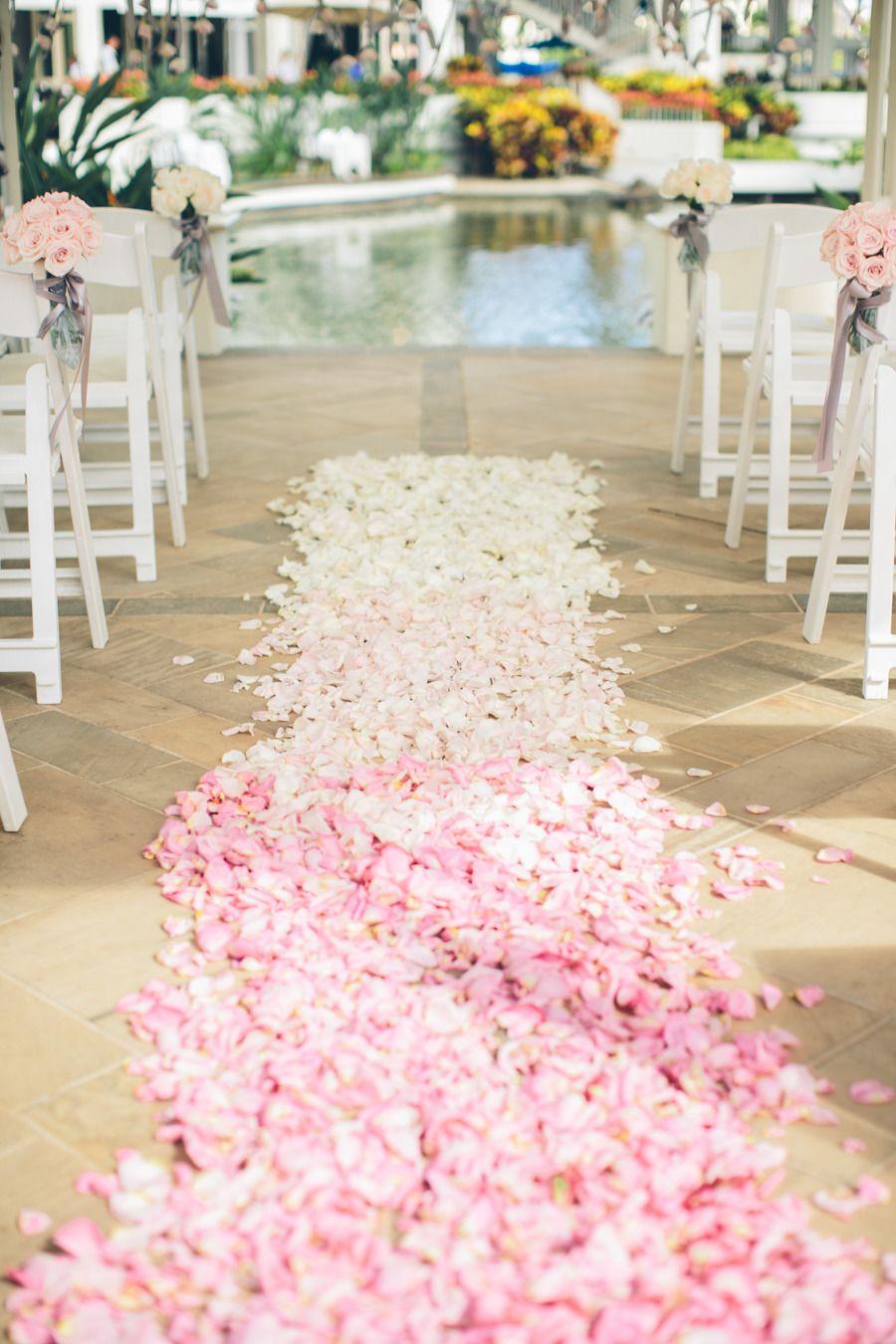 Pink ombre aisle: http://www.stylemepretty.com/destination-weddings/2015/03/16/elegant-new-orleans-inspired-hawaiian-wedding/ | Photography: Rebecca Arthurs - rebeccaarthurs.com