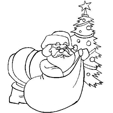 Dessin de Père Noël a colorier