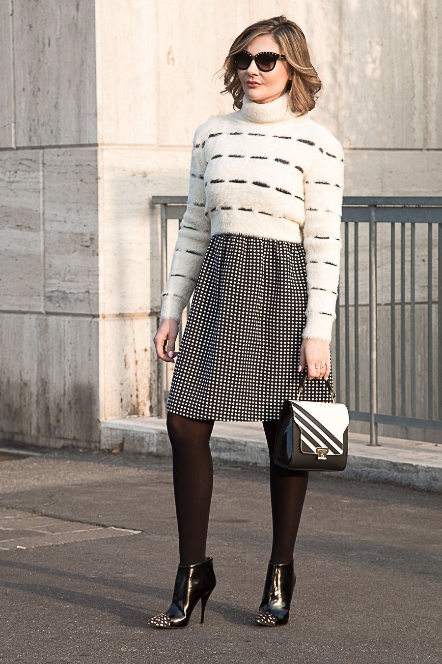 cropped fluffy sweater fashion blogger outfit