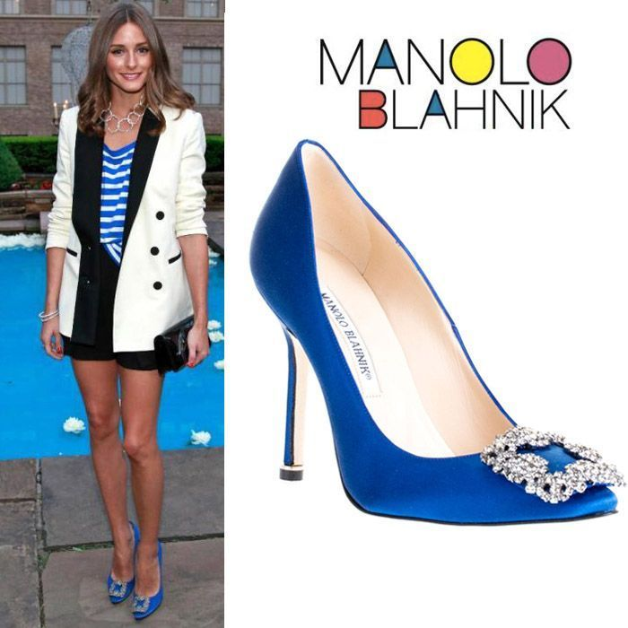 64dcee8e092 Olivia Palermo in Manolo Blahnik blue satin Hangisi pumps  CELE03609  -   217.00   Discounted Christian Louboutin