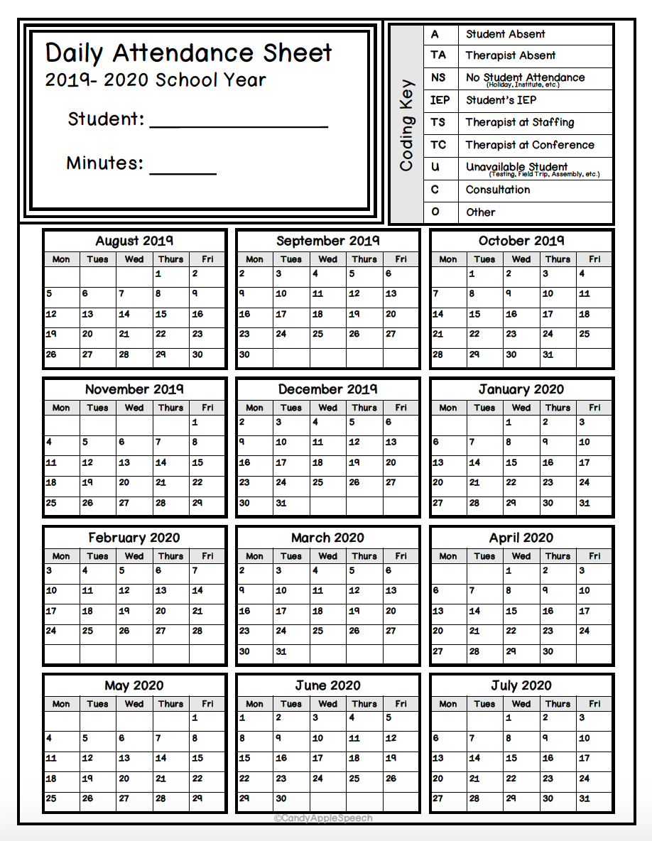 Keep Track Of Attendance With This Simple Form Attendance Sheet Student Attendance Sheet Attendance Tracker