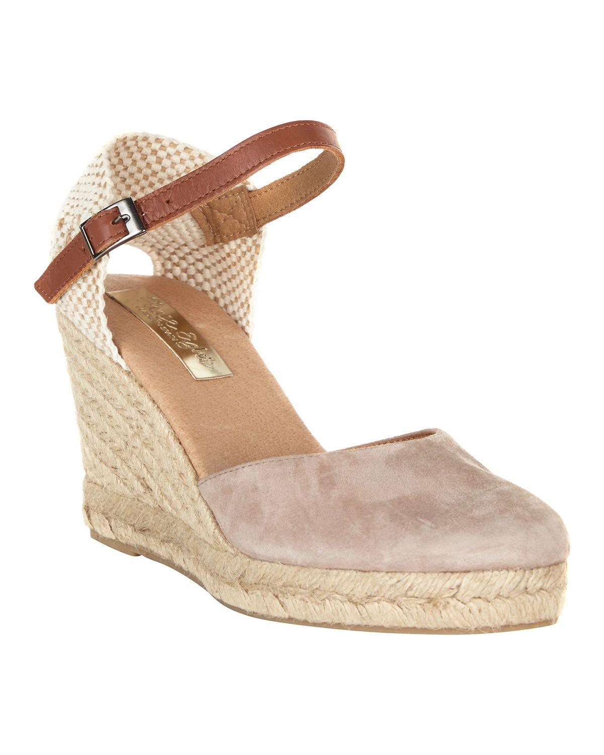 d500bf07a6 A stripe detail espadrille wedge with a leather-look ankle strap and closed  toe.