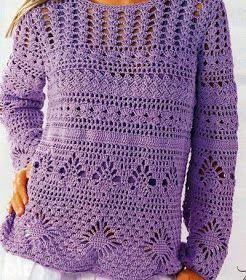 La maglia color lilla,  quella proposta in questo post, ma realizzabile nei colori che più vi piacciono.  Provate a lavorarla con il coto...