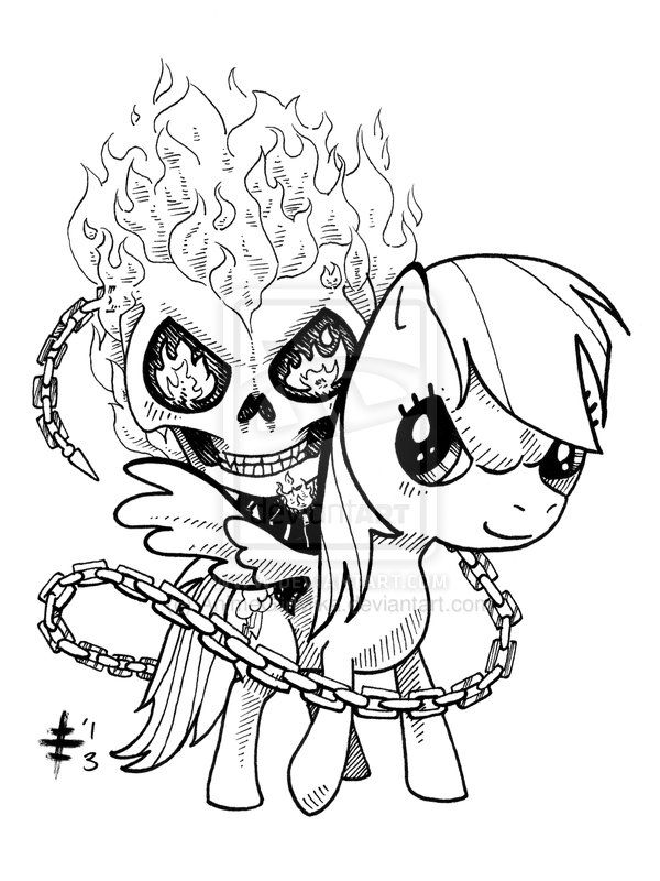 Tomo Commission 8 Ghost Rider Rainbow Dash By Animegirlmika Deviantart Com On Deviantart Skull Coloring Pages Fairy Coloring Pages My Little Pony Coloring