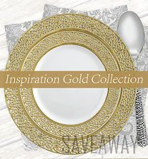 Elegant Wedding Party Disposable Plastic Plates Inspiration White Gold