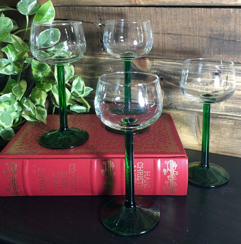 4 Hock Rhine Emerald Green Stem Wine Glass Jg Durand Cristal D Arques Free Ship Cristaldarquesdurrand Wine Glass Arques Wine