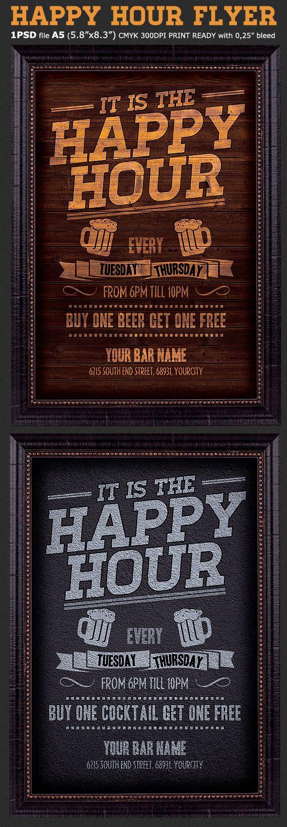 Happy Hour Flyer Template Flyer template, Restaurant