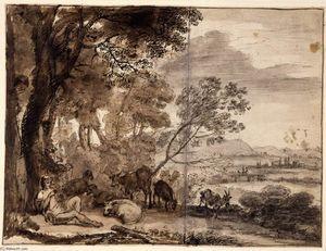 Paysage avec un chevrier - (Claude Lorrain)