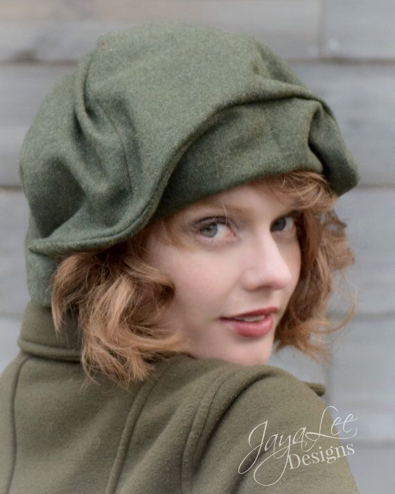 d80ebe247cd30 Draped Beret Hat in Forest Green Wool Tweed
