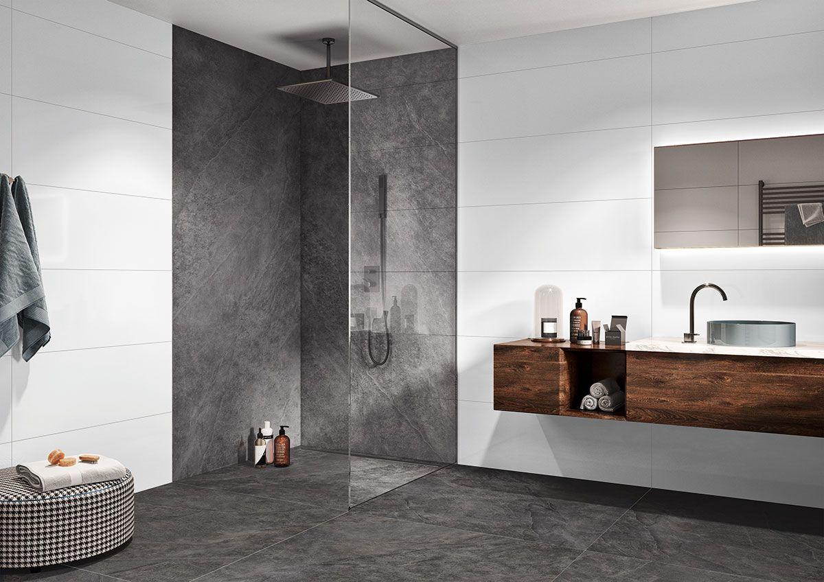 Betonstyle Mit 60x60cm Fliesen Kleines Bad Dekorieren Betonoptik Badezimmer Dekor Diy