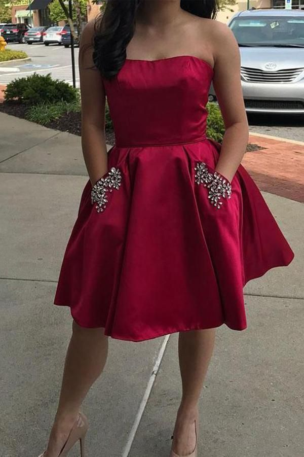 Photo of Simple Strapless Cute Cheap Beaded Red Sleeveless Homecoming Dres