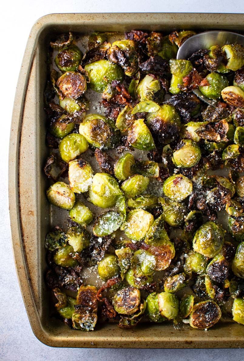 Roasted Brussel Sprouts with Bacon & Parmesan Cheese | Recipe | Baked brussel  sprouts, Roasted bacon, Sprout recipes
