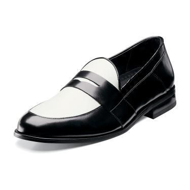 Stacy Adams Mens Glover Black White Leather Slip on Loafer Dress Shoes  24786 111 | eBay
