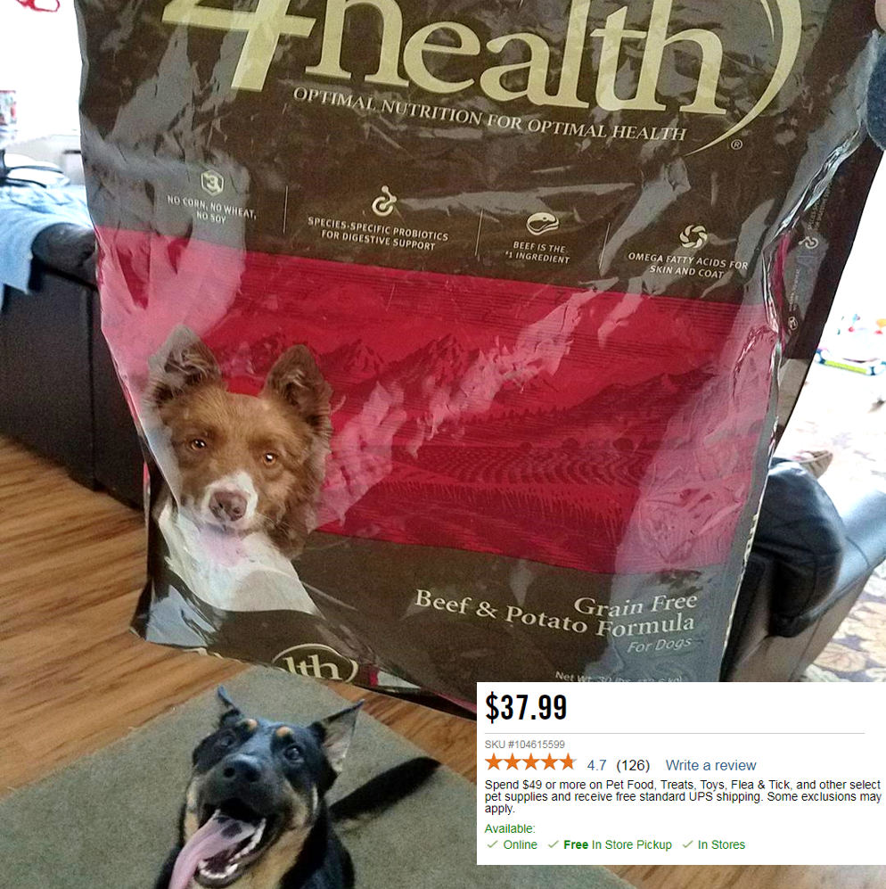 Toprated grainfree 4health dog food meat or fish
