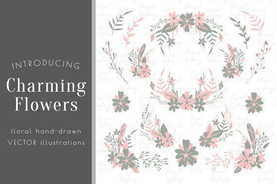 Blume Clipart, kommerzielle Nutzung, florale ClipArt, handgezeichnete florale Vektor, Hochzeit rustikale ClipArt, Kranz Blätter Illustration, botanische