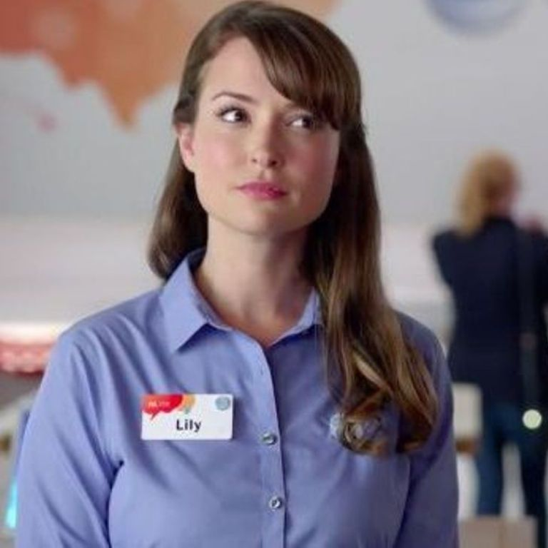 "milana vayntrub as ""lily adams"" in a.t./t. tv commercials 