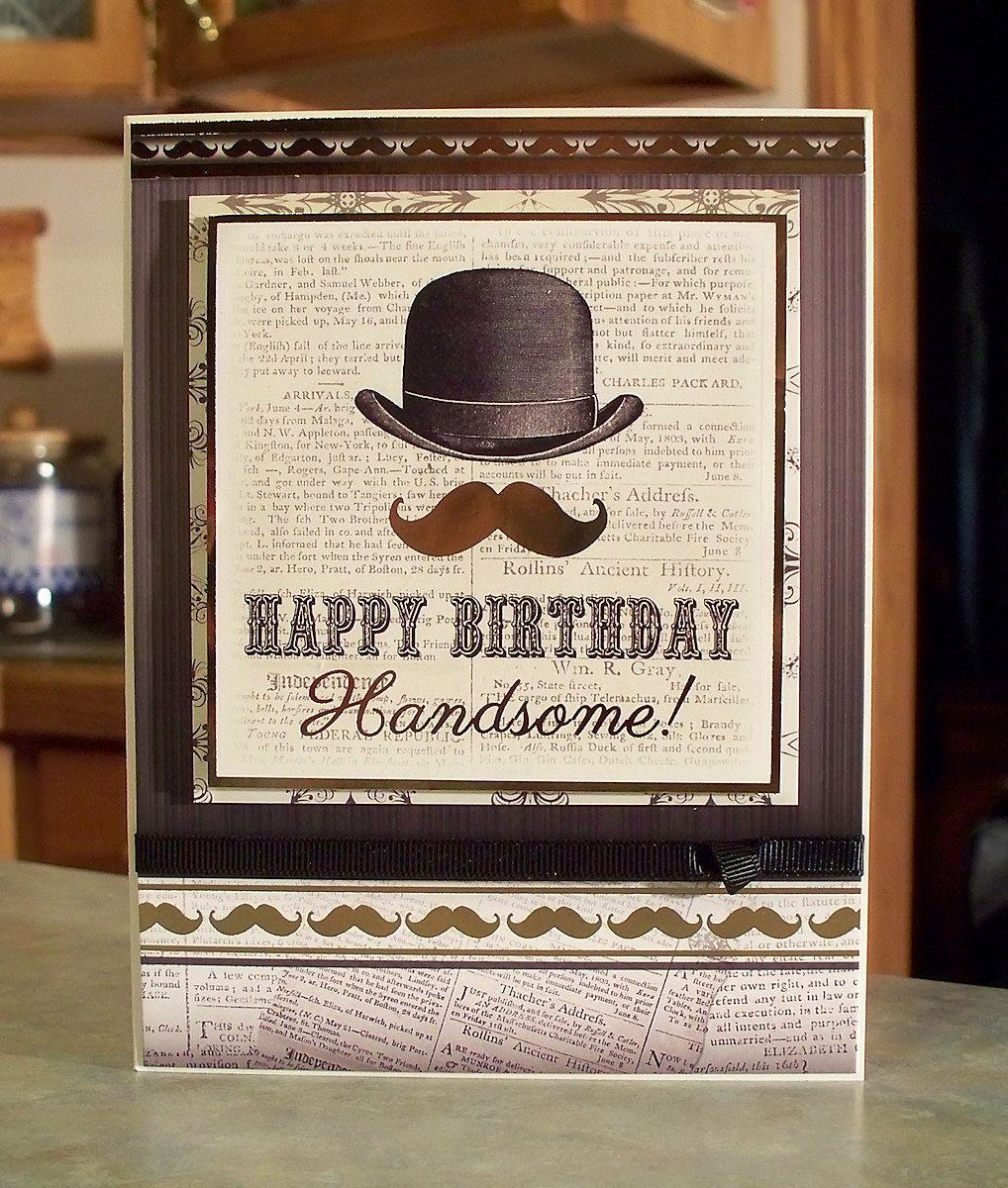 Vintage Style Masculine Birthday Card For Men By
