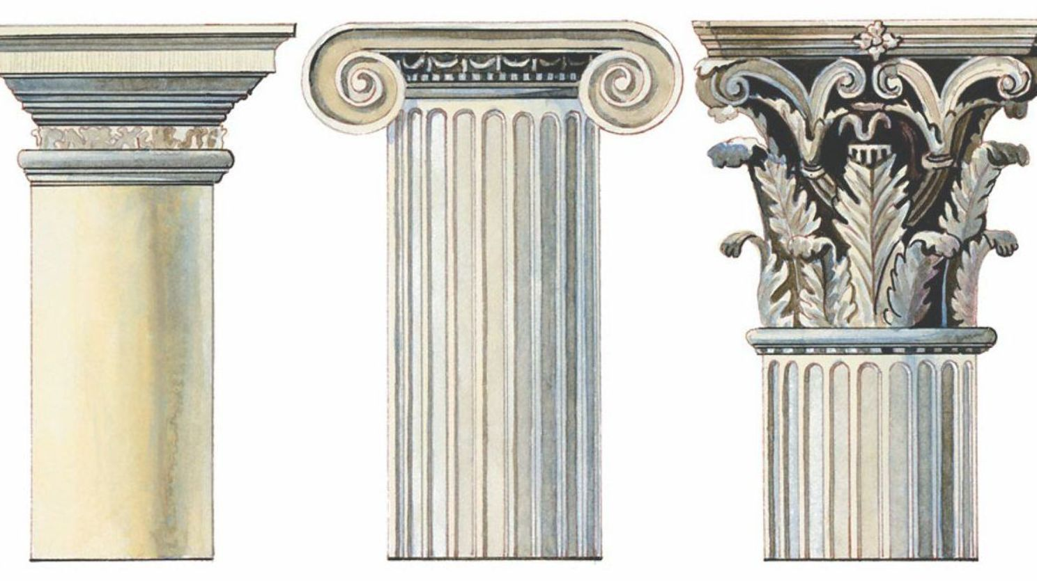 Three Different Designs Of Greek Columns Ancient Greek Architecture Architectural Columns Greek Culture