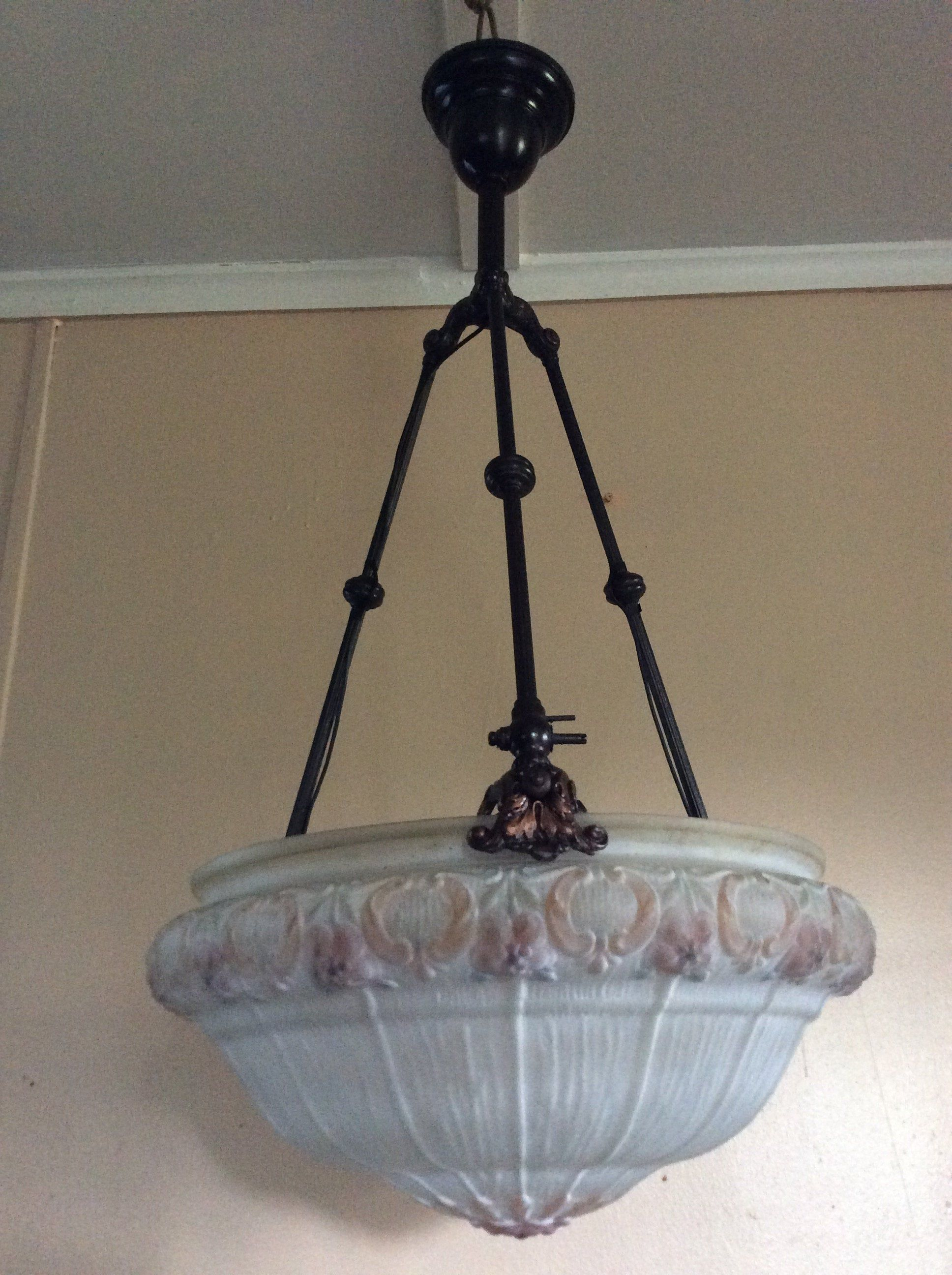 Antique Victorian Chandelier Hanging Bowl Light Late 1800s Gas Converted To Electricity Bowl Light Victorian Chandelier Old Lights
