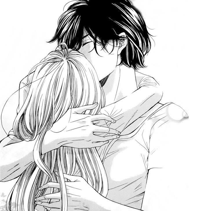 Anime Black And White Boy Couple Girl Hug Kiss Love Manga