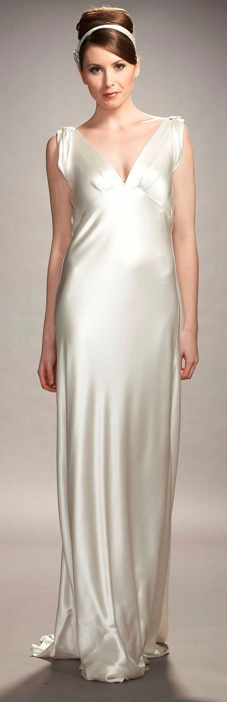1930s inspired bias cut liquid silk satin V-neck low back wedding ...