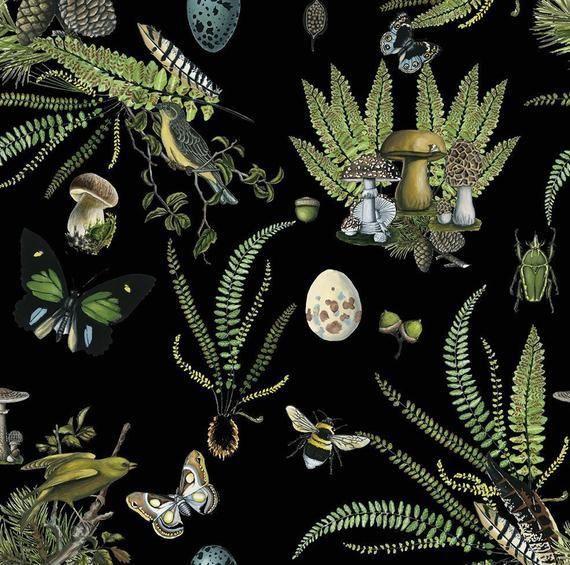 Naturalist Black Botanical Removable Wallpaper 501