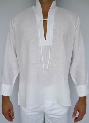 Men\'s linen caftan with Mandarin collar, drawstring front, and ...
