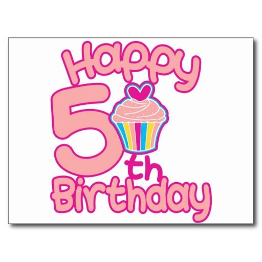 Happy 5th Birthday Postcard Zazzle Com Birthday Happy 5th