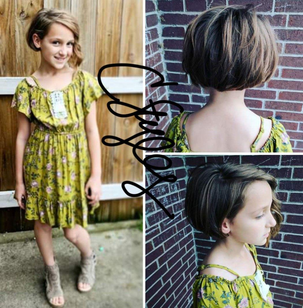 tween girl kids short hair cut asymmetrical bob by candee