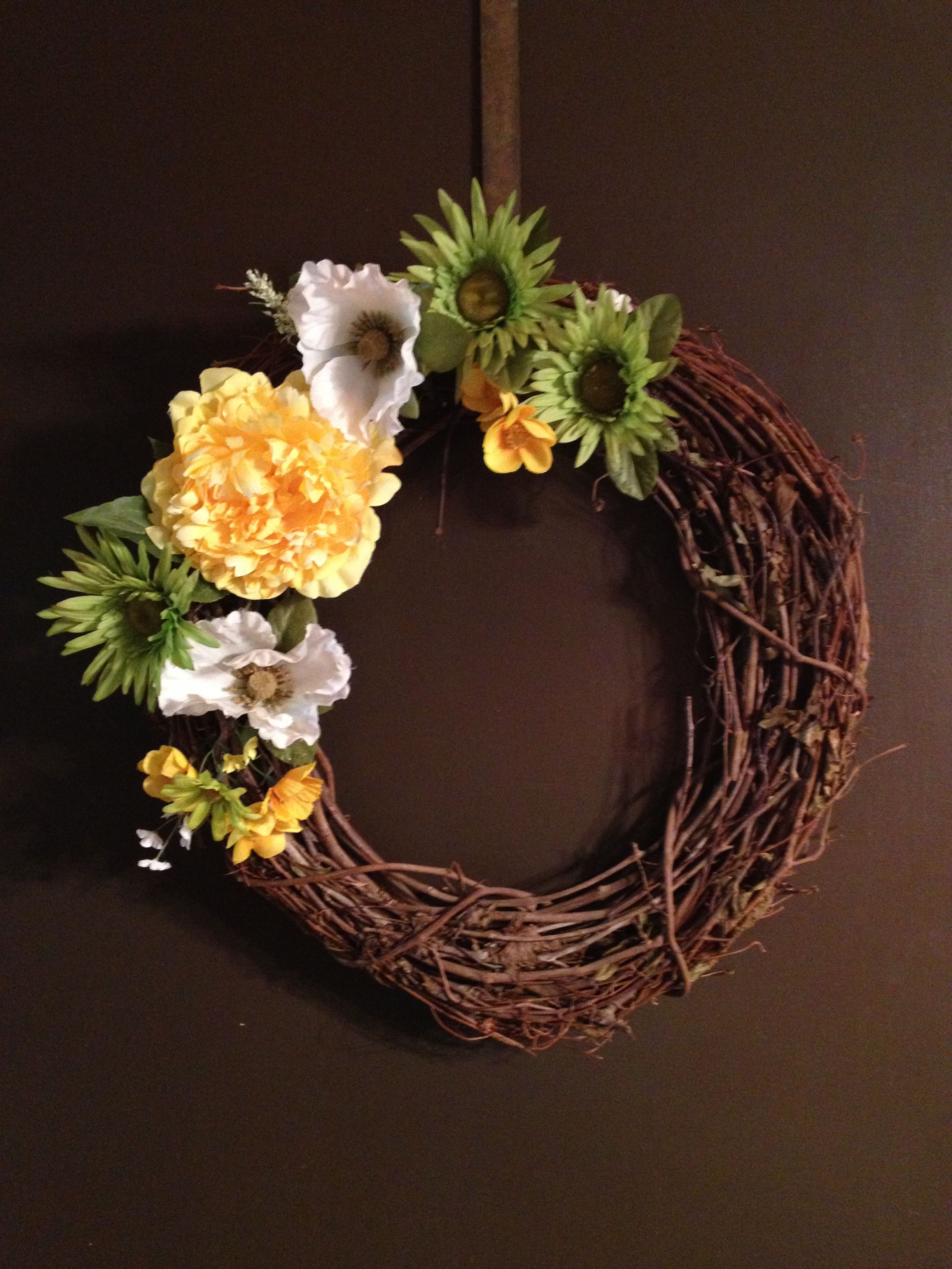 "My first try at a wreath. May add a painted ""W"" to the bottom right..."
