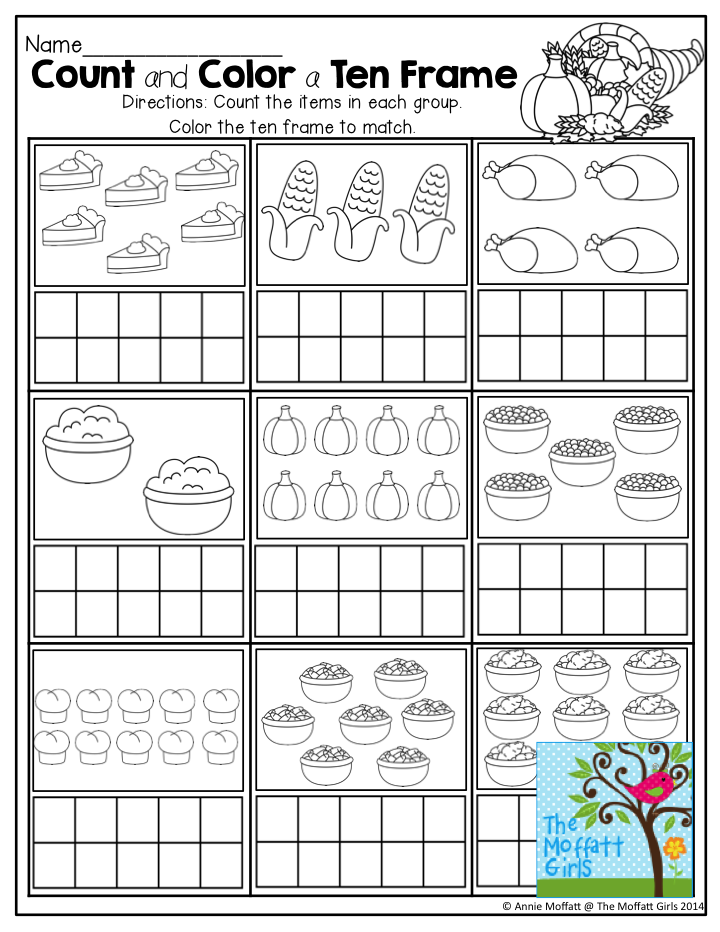 count and color a ten frame count the turkey dinner items and color a ten frame to match. Black Bedroom Furniture Sets. Home Design Ideas