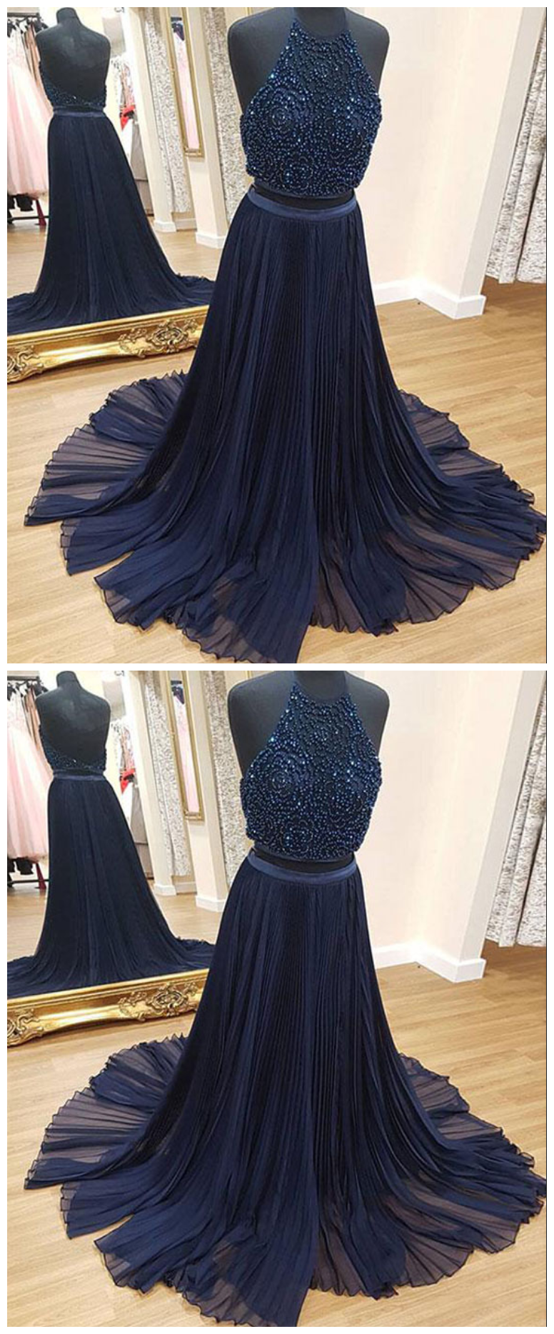 Charming two piece aline halter navy blue long anneprom