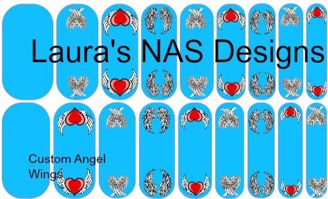 Custom Angel Wings  #NAS #Jamberry #NailArtStudio #NailArt #DIY #laurasnasdesigns