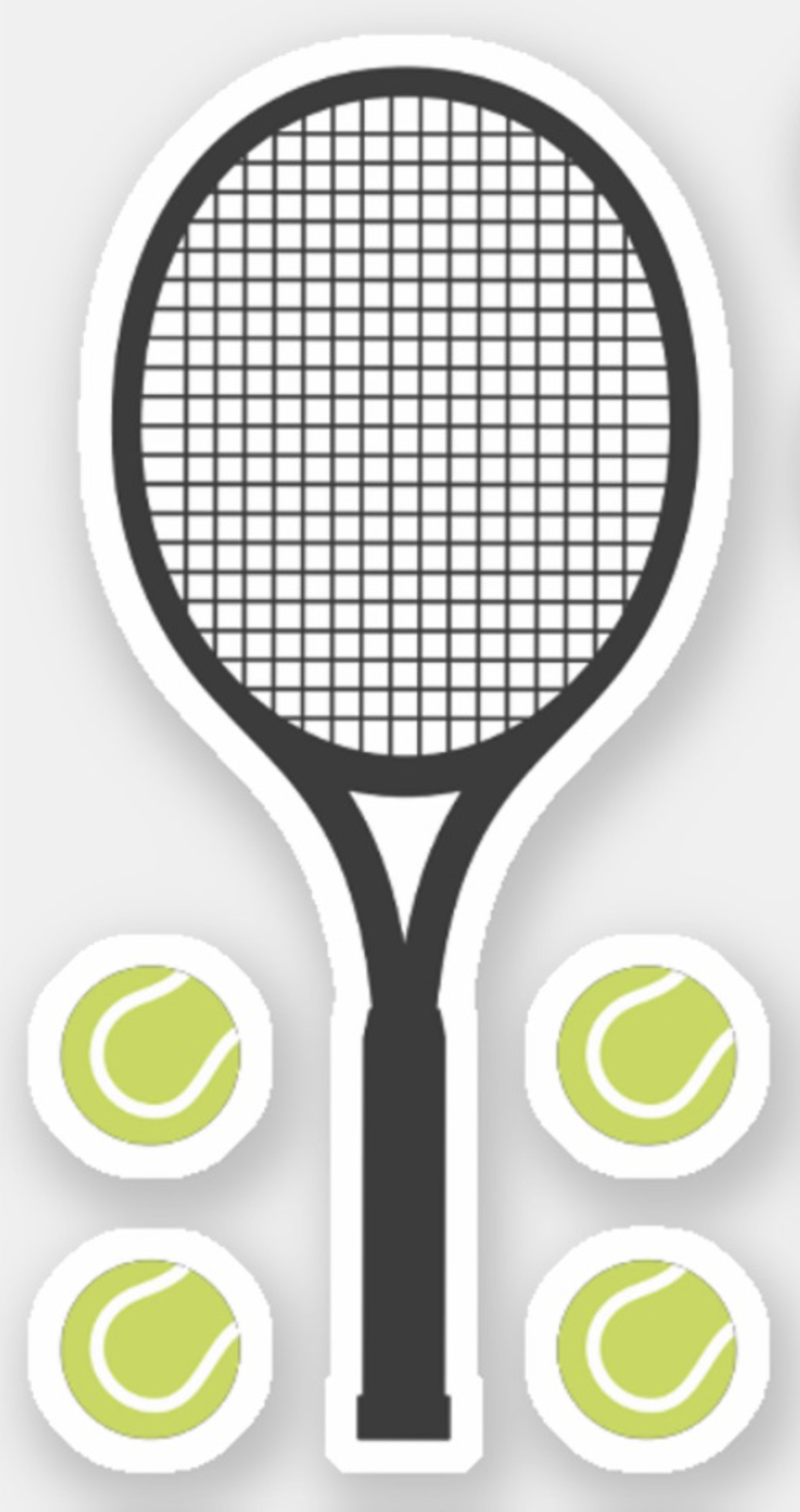 Tennis Balls And Tennis Rackets Sticker Zazzle Com Tennis Racket Tennis Tennis Racket Cake