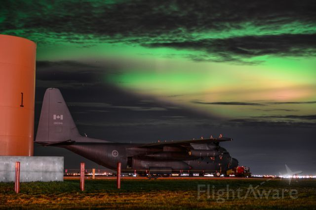 Spectacular Combination of Northern Lights and a C-130 Hercules at the Grande Prairie Airport - October 7 2015