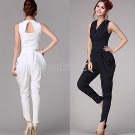 $17.10 Fashion Restore V Collar Sleeveless Womens Girl Slim Haroun Long Pants Vest Jumpsuits