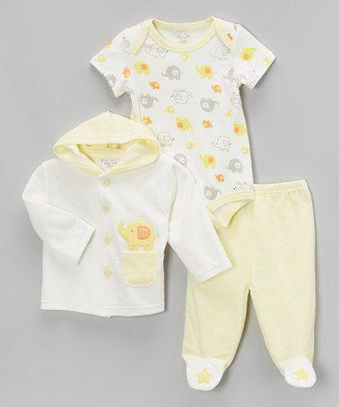 Look what I found on #zulily! Yellow Elephant Velour Hooded Jacket Set by René Rofé Baby #zulilyfinds